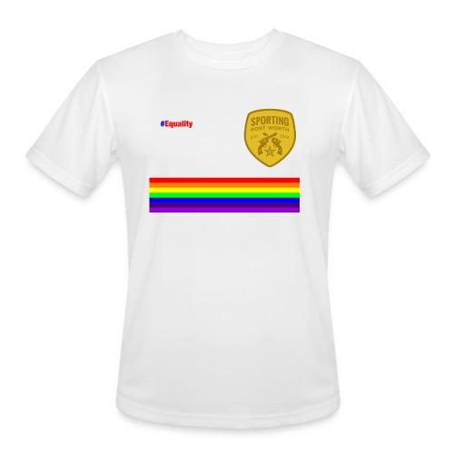 SFW Equality Tech Shirt (white & rainbow) - Men's Moisture Wicking Performance T-Shirt