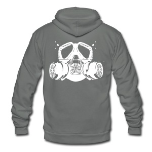 gas mask - Unisex Fleece Zip Hoodie by American Apparel