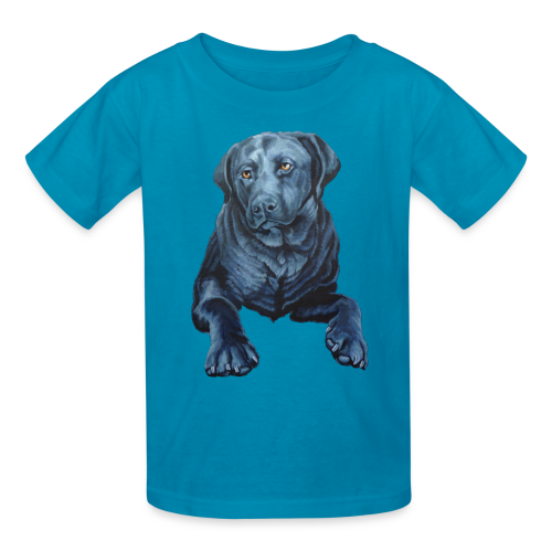 Black Lab Dog T-shirt Kid's Blue Dog Art Shirts  - Kids' T-Shirt