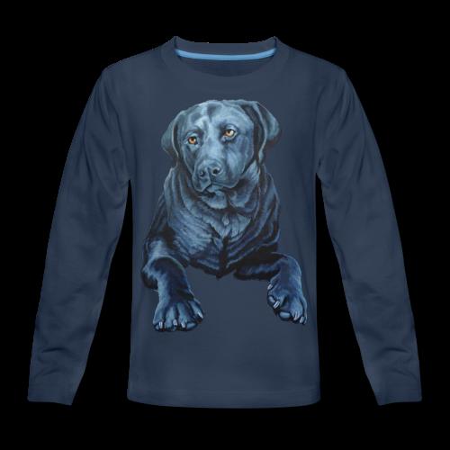 Black Lab Dog T-shirt Kid's Blue Dog Art Shirts  - Kids' Premium Long Sleeve T-Shirt