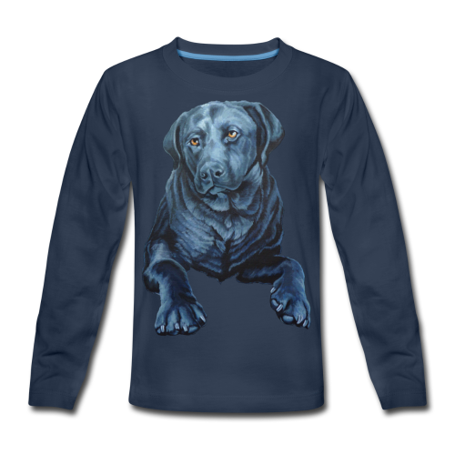 Black Lab Dog T-shirt Kid's Blue Dog Art Shirts  - Kids' Premium Long Sleeve T-Shirt