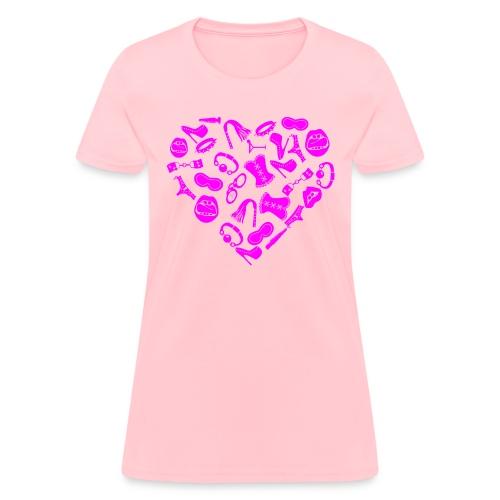 Bondage Toy Kink Heart  ©WhiteTigerLLC.com   - Women's T-Shirt