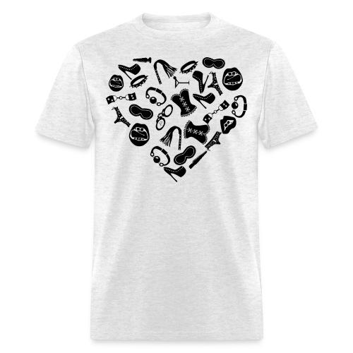 Bondage Toy Kink Heart  ©WhiteTigerLLC.com   - Men's T-Shirt