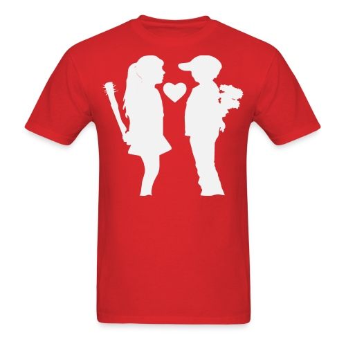 His & Her Love Bats and Flowers   - Men's T-Shirt