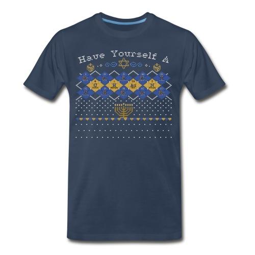 Periodic Argyle of Elements - Happy Chanukkah - Men's Premium T-Shirt