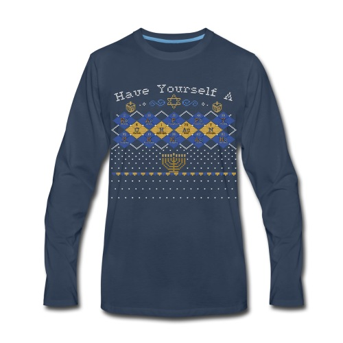 Periodic Argyle of Elements - Happy Chanukkah - Men's Premium Long Sleeve T-Shirt