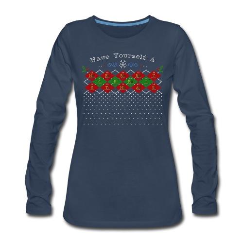 Periodic Argyle of Elements - Merry Christmas - Women's Premium Long Sleeve T-Shirt