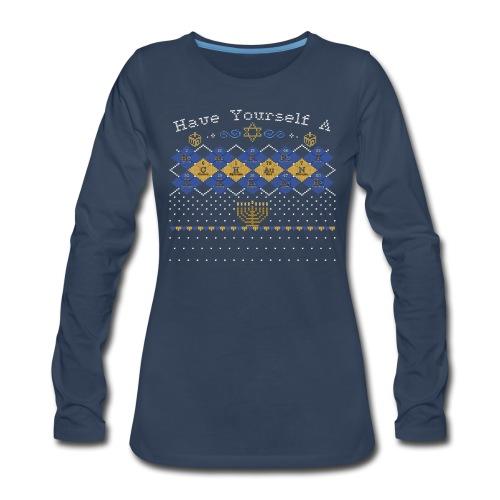 Periodic Argyle of Elements - Happy Chanukkah - Women's Premium Long Sleeve T-Shirt