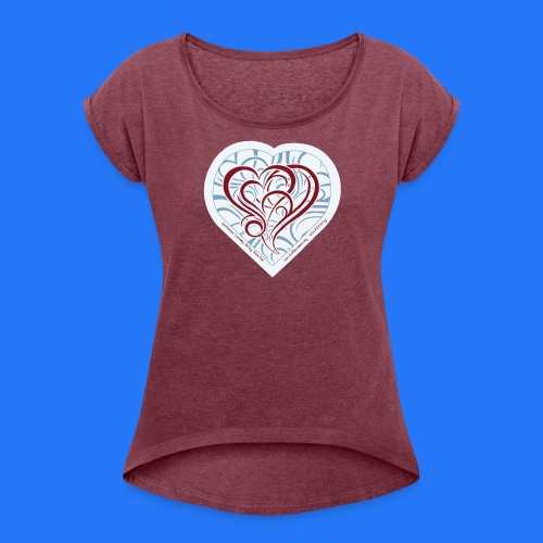 Women's Roll Cuff T-Shirt (new design - curly heart) - Women's Roll Cuff T-Shirt