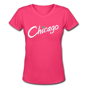 Chicago with a Shamrock - Women's V-Neck T-Shirt