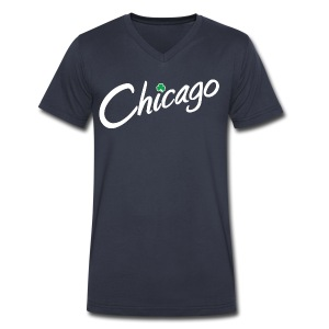Chicago with a Shamrock - Men's V-Neck T-Shirt by Canvas
