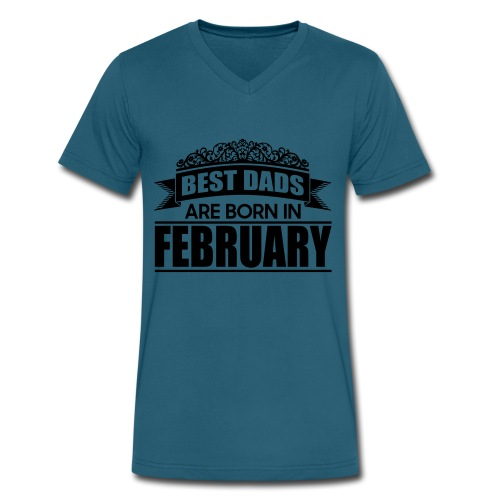 the best dads are born in february - Men's V-Neck T-Shirt by Canvas