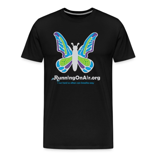 Men's Premium T-Shirt - Our new logo of a butterfly with running shoes in the top part of the wings.