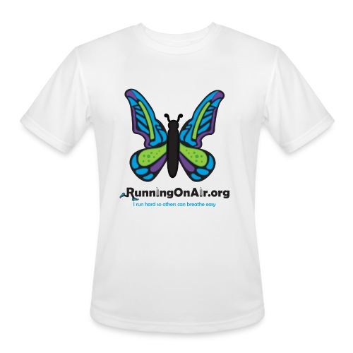 Men's Moisture Wicking Performance T-Shirt - Our new logo of a butterfly with running shoes in the top part of the wings.