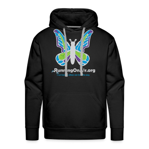 Men's Premium Hoodie - Our new logo of a butterfly with running shoes in the top part of the wings.
