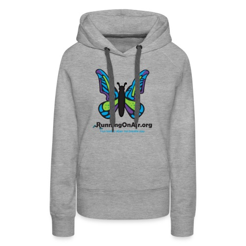 Women's Premium Hoodie - Our new logo of a butterfly with running shoes in the top part of the wings.