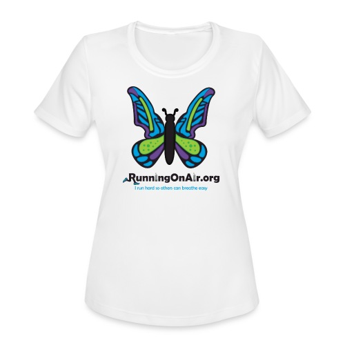 Women's Moisture Wicking Performance T-Shirt - Our new logo of a butterfly with running shoes in the top part of the wings.