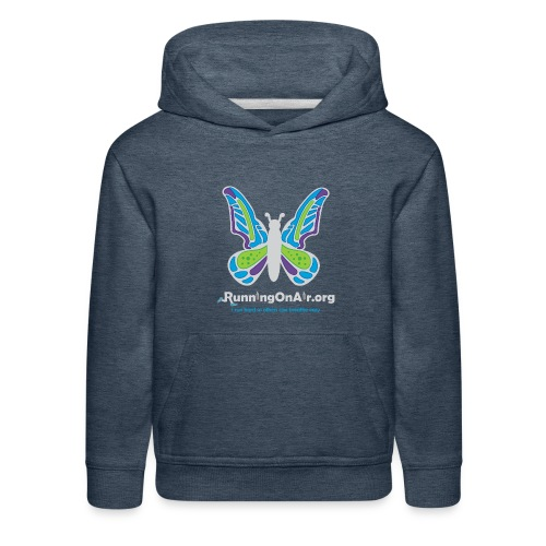 Kids' Premium Hoodie - Our new logo of a butterfly with running shoes in the top part of the wings.