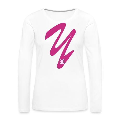 Y- Women's Premium Long Sleeve T-Shirt - Pink Glitter DESIGN - Y-EVO(^) Entertainment's Shop - Women's Premium Long Sleeve T-Shirt