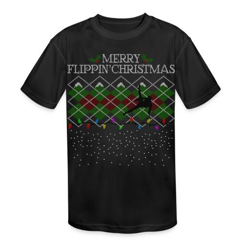 Merry Flippin' Christmas - Boys' Performance Tee - Kids' Moisture Wicking Performance T-Shirt