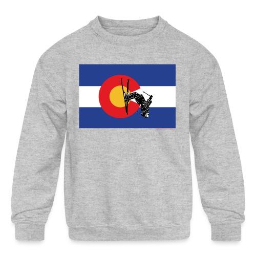 Colorado Flag and Snow Skier - Kids' Crewneck Sweatshirt