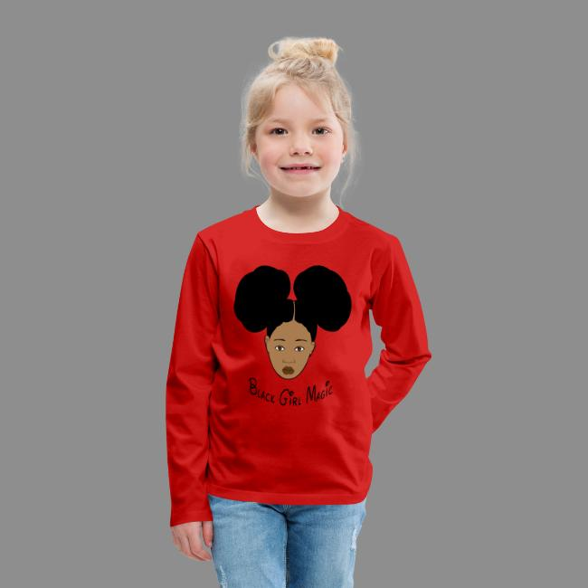 e2132425 Black Style | Black Girl Magic Afro Puffs Kids Long Sleeve Premium T ...