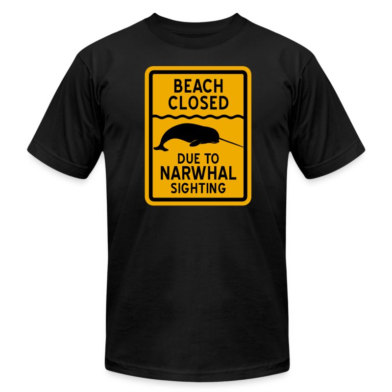 Beach Closed Narwhal Sighting - Men's Fine Jersey T-Shirt