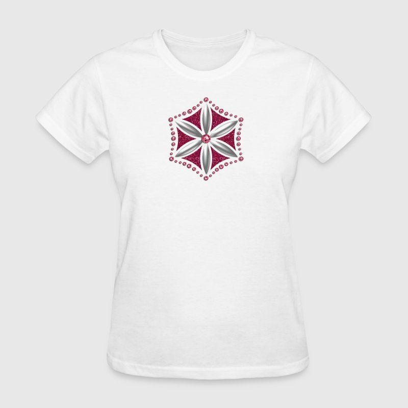 Flower of Aphrodite, silver, Symbol of  love, beauty and transformation, Power Symbol, Talisman Women's T-Shirts - Women's T-Shirt