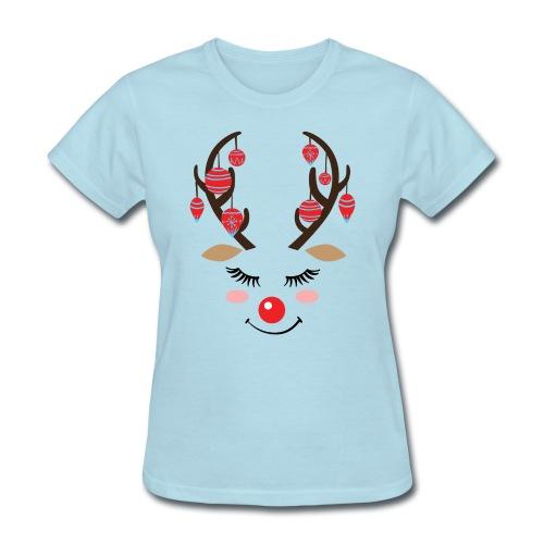 Cute reindeer face Christmas - Women's T-Shirt
