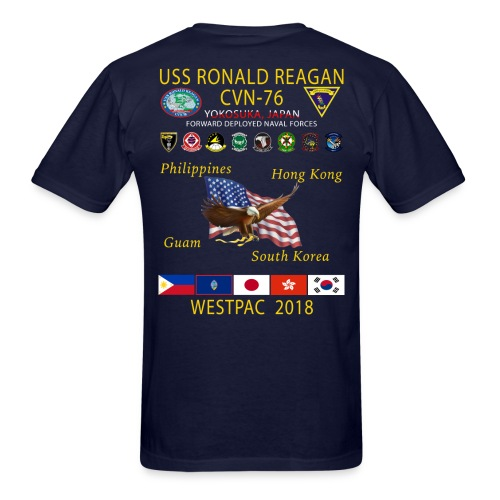 USS RONALD REAGAN CVN-76 WESTPAC 2018 CRUISE SHIRT - Men's T-Shirt