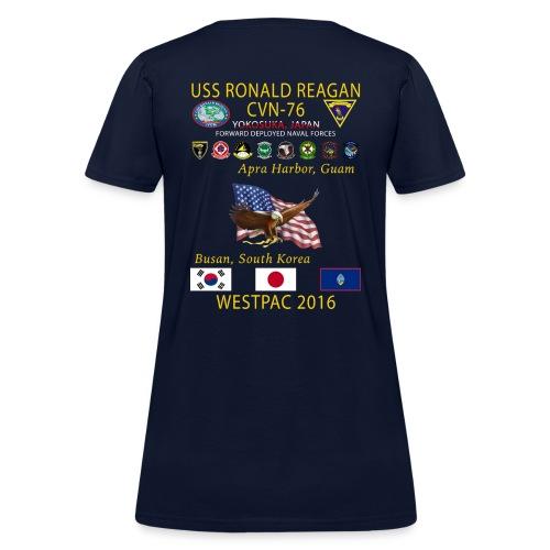 USS RONALD REAGAN CVN-76 WESTPAC 2016 WOMENS CRUISE SHIRT - Women's T-Shirt