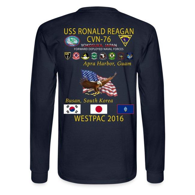 USS RONALD REAGAN CVN-76 WESTPAC 2016 LONG SLEEVE
