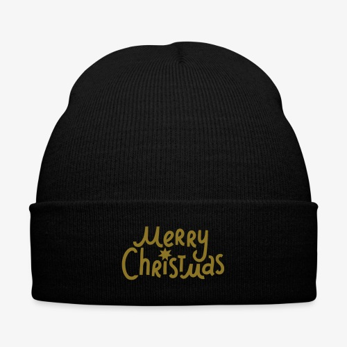 Merry Christmas Beanie - Knit Cap with Cuff Print