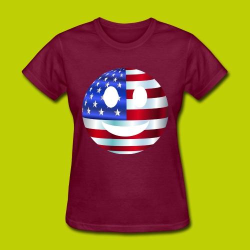USA Smiley Face -ink print- - Women's T-Shirt