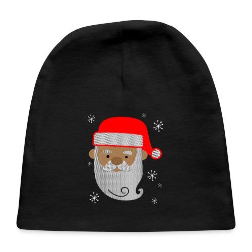 Black Santa Texture Ugly Christmas Sweater Style Baby Cap - Baby Cap