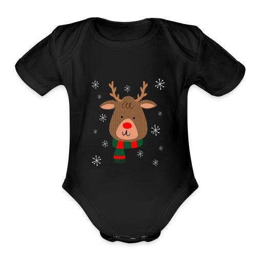 Red Nosed Reindeer Organic Premium Christmas Baby Bodysuit - Organic Short Sleeve Baby Bodysuit