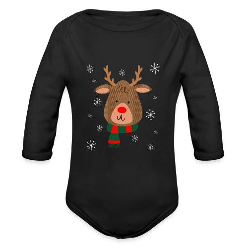 Red Nosed Reindeer Organic Premium Long Sleeve Christmas Baby Bodysuit - Organic Long Sleeve Baby Bodysuit