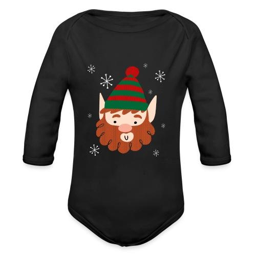 Cool Santas Elf Baby Premium Long Sleeve Christmas Bodysuit - Organic Long Sleeve Baby Bodysuit