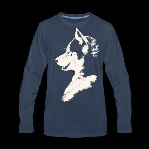 Men's Premium Long Sleeve T-Shirt - Siberian Husky Shirts Malamute Gifts T-shirts Sweatshirts, Hoodies & Sled Dog Art Gifts Alaskan Malamute Dog Art Shirts & Gifts for Men Women Boys & Girls Home & Office Sled Dog Shirts & Siberian Husky Shirts Wolf Dog Gifts Husky / Malamute Shirts Art & Design by Canadian Artist / Designer Kim Hunter.