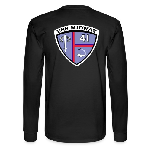 USS MIDWAY CREST BACK PRINT LONG SLEEVE TEE - Men's Long Sleeve T-Shirt