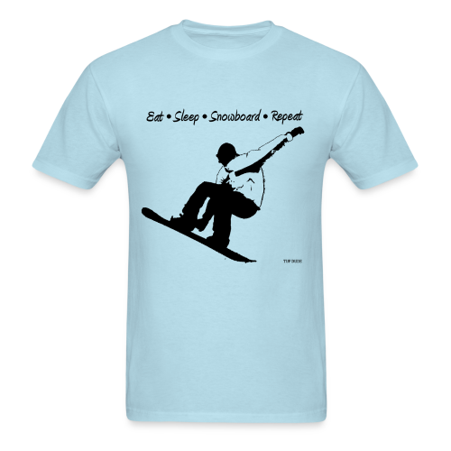 Eat Sleep Snowboard Repeat 001 - bw  - Men's T-Shirt