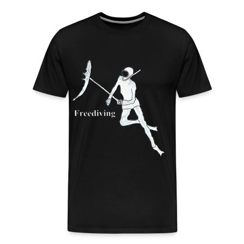 Freediving Spearfishing Diver with Fish - Men's Premium T-Shirt