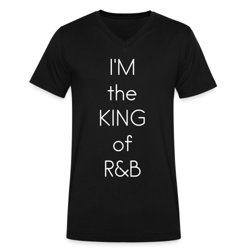 KING OF R&B V-NECK (WHITE LTRS up to 3X) - Men's V-Neck T-Shirt by Canvas
