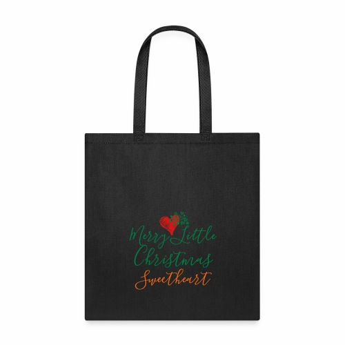 Tote Bag - A perfect, simple elegant way to express your affection during the holiday season. Love is after all in the air. Light handwritten style text script with multiple hearts perfect for Christmas season.