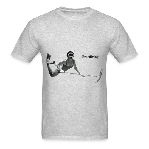 Freediving Spearfishing Woman Diver with Fish - Men's T-Shirt