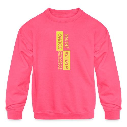 Kids Young Forever - Yellow Logo - Kids' Crewneck Sweatshirt
