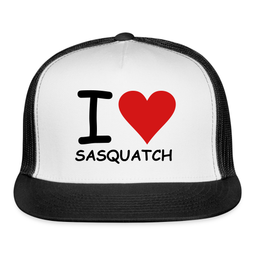 I Love Sasquatch Bigfoot Trucker Cap - Trucker Cap