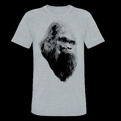 Sasquatch Bigfoot Portrait Black Print - Unisex Heather Tri Blend Shirt - Unisex Tri-Blend T-Shirt