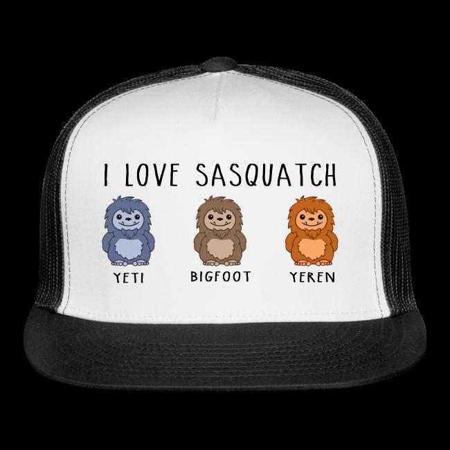 I Love Sasquatch Bigfoot Yeti Bigfoot Yeren Trucker Cap