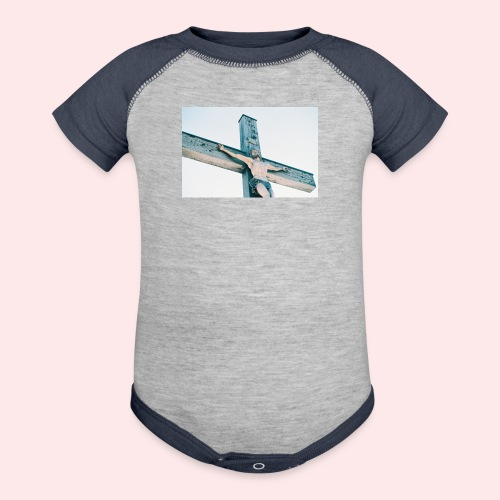 Christ on the Cross Super Cute Baby Bodysuit - Contrast Baby Bodysuit